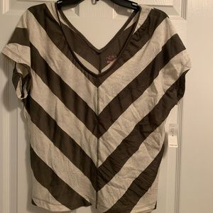 v-neck loose fitting top (tan and army green)